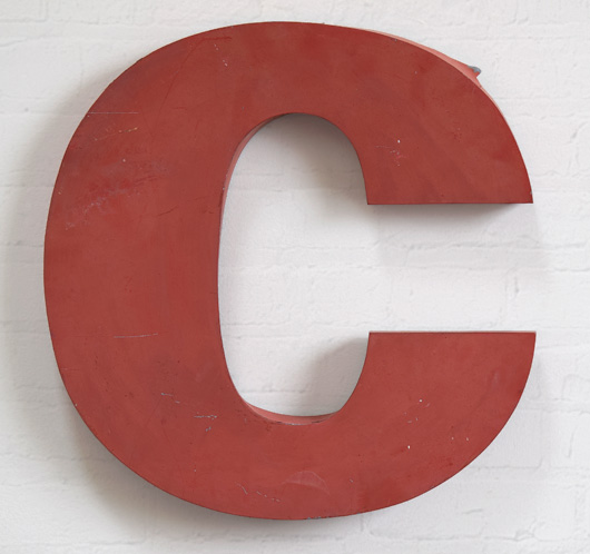 Large vintage red French zinc metal sign letter 'C', mid-1900s