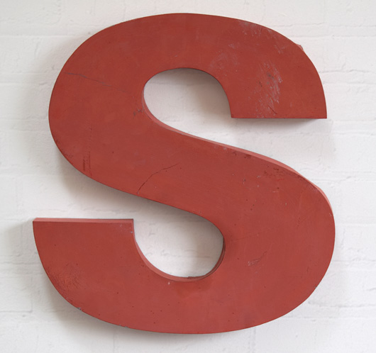 Large red French zinc metal sign letter 'S', mid-1900s