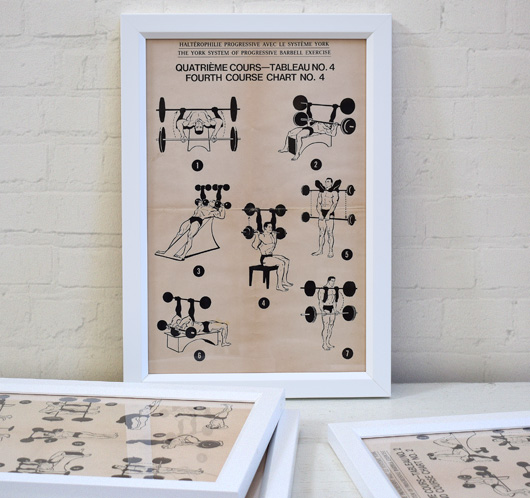 Four mid-1900s vintage York weights exercise instruction posters