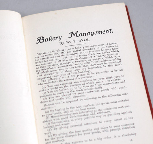 First-edition hardcover: Bakery Management, c. 1900