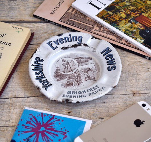 1920s antique enamel ashtray: Yorkshire Evening News