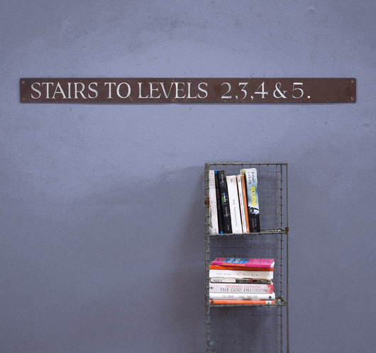 Early-1900s painted antique sign: Stairs To Levels...