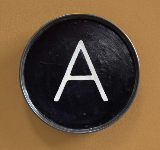 Hand-painted vintage typewriter key wall hanging: A