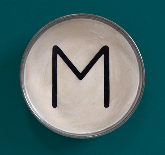Hand-painted vintage typewriter key wall hanging: M