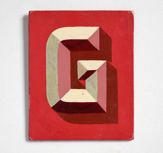 Painted wooden sign letter plaque: G
