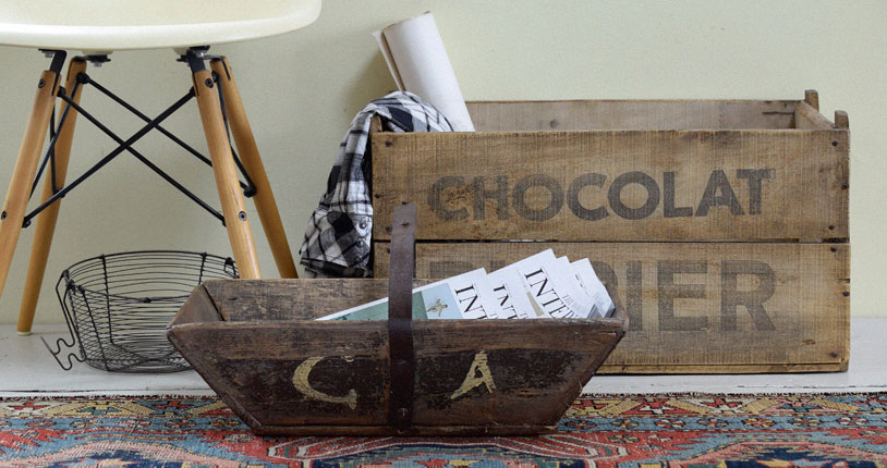 vintage wooden chocolate crate and trug
