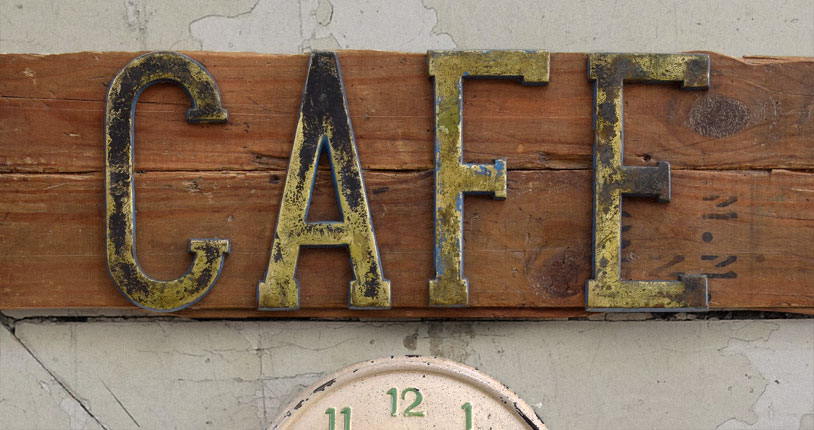 vintage cafe sign and wall clock