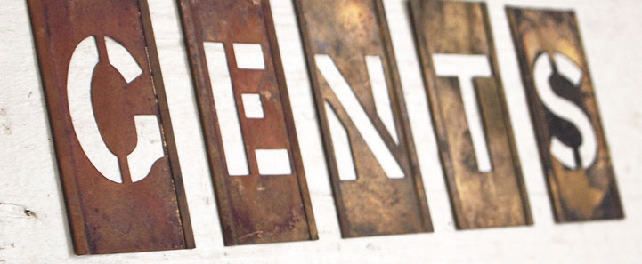 Brass plate letter stencils: Gents